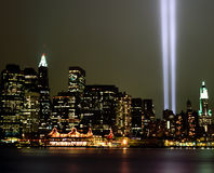 World Trade Center-Lichtstrahlen 9-11 Lizenzfreies Stockbild