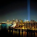 World Trade Center Lichtstralen 9-11 Royalty-vrije Stock Foto
