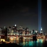 World Trade Center Lichtstralen 9 / 11 Stock Afbeeldingen