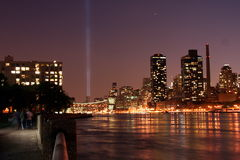 World Trade Center memorial lights Royalty Free Stock Photo