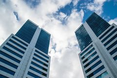 World Trade Center Montevideo. MONTEVIDEO, URUGUAY, JULY 16, 2016: A view from below of the World Trade Center buildings in the morning in Montevideo, Uruguay on Royalty Free Stock Photography