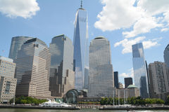 World Trade Center. In New York with the sky reflection Royalty Free Stock Photos
