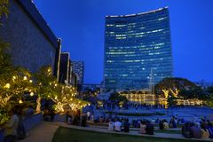 World Trade Center, Bangalore, India. World Trade Center skyscraper and Orion mall at the blue hour in Bangalore, Karnataka, India. Photo taken in 2017-09-30 stock photography