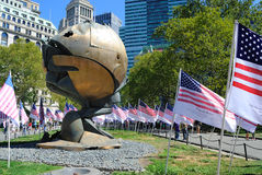 World Trade Center Sphere. The Sphere, a sculpture by Fritz Koenig, stood for 3 decades between the World Trade Center buildings. Now it stands in Battery Park Stock Images