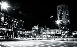 The World Trade Center and traffic on Light Street at night, in. Baltimore, Maryland Stock Photography