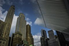 The World Trade Center Transportation Hub—and the Oculus,New York. The World Trade Center Transportation Hub—and the Oculus, the spiky, controversial Stock Photos