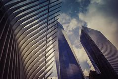The World Trade Center Transportation Hub—and the Oculus,New York. The World Trade Center Transportation Hub—and the Oculus, the spiky, controversial Royalty Free Stock Images