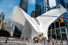 World Trade Center Transportation Hub or Oculus in New York. New York City, USA - June 20, 2018: Outdoor view of World Trade Center Transportation Hub or Oculus royalty free stock photos