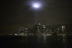 World Trade Center Tribute. The twin towers of light in a World Trade Center tribute Stock Photos