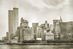 World Trade Center Twin Towers. New York City skyline from NJ with World Trade Center featured as landmark of Twin Towers, destroyed in September 11, 2001. Sepia royalty free stock image