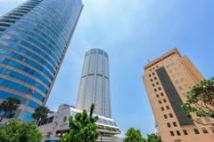 World Trade Center und Bank von Ceylon-Gebäuden sind das hohe Gebäude in Colombo Stockfotografie