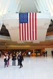 World Trade Center and US Flag. New York, NY, USA - April 17, 2016: US Flag inside of World Trade Center Transportation Hub Royalty Free Stock Image