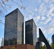World Trade Centerbyggnader i den nordliga fjärdedelen i område för central affär Arkivfoto