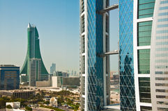 World Trade Centre, Bahrain. The World Trade Centre, Bahrain, in bright sunshine and blue sky Royalty Free Stock Photography