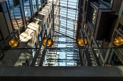Glass arch roof. World Trade Centre Montreal, Modern architecture, glass arch roof Royalty Free Stock Photos