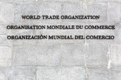 World Trade Organization inscription on a wall Stock Photography