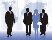 World trade policy. Digital Illustration of businessmen and businesswomen with the world Royalty Free Stock Photos