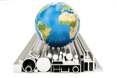 World trade of rolled metal products concept, 3D rendering Stock Photos