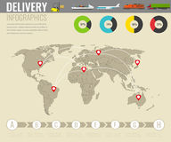 World transportation and logistics. Delivery and shipping infographic elements. Vector. Illustration Stock Photo