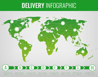 World transportation and logistics. Delivery and shipping infographic elements. Vector Stock Image