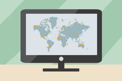 World transportation map with airplanes on computer. Eps 10 format stock illustration