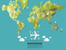 World transportation vector :flats. World map transportation vector, by Air Stock Illustration