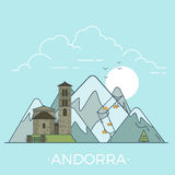 World travel in Andorra Linear Flat vector design Stock Photo