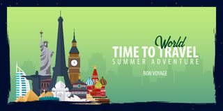 World travel banner. Time to Travel. Journey, trip and vacation. Vector flat illustration. World travel banner. Time to Travel. Journey, trip and vacation Stock Images
