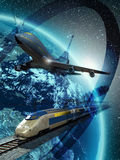 World travel. A big plane flying above a modern high-speed train on its railroad, with the Earth at the background and several known monuments Stock Image