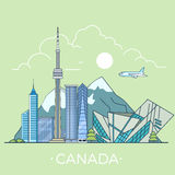 World travel in Canada Linear Flat vector design t royalty free illustration