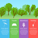 World travel card. Tourism. Ecological forest. Stock Photo