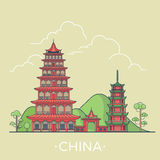 World travel in China Linear Flat vector design te Stock Images