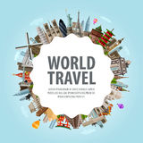 World travel. Collection of famous architecture of Stock Images