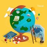 World travel concept. Flat 3d isometric design of world travel concept Stock Image