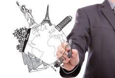 World Travel del dibujo del hombre de negocios Fotos de archivo libres de regalías