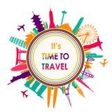 World Travel, diseño plano del horizonte de las señales Imágenes de archivo libres de regalías