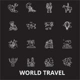 World travel editable line icons vector set on black background. World travel white outline illustrations, signs vector illustration
