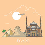 World travel in Egypt Linear Flat vector design te Stock Images