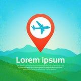 World Travel en aeroplano plano del icono en el indicador Pin Over Mountains Background de la navegación libre illustration