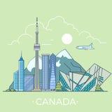World Travel en el diseño plano linear t del vector de Canadá Imagen de archivo