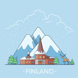 World travel in Finland Linear Flat vector design. Finland country design template. Linear Flat famous historic sight; cartoon style web site vector illustration Royalty Free Stock Photo