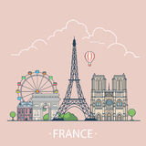 World travel in France Linear Flat vector design t. France country design template. Linear Flat famous historic sight; cartoon style web site vector illustration Stock Photography