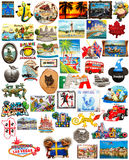 World travel fridge magnets. On a white background. Recession means less traveling but greater deals for those that due stock images