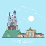 World travel in Germany Linear Flat vector design Royalty Free Stock Images