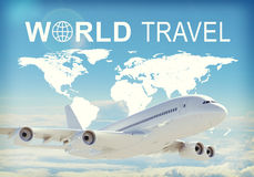 World Travel header. Contoured map of world continents with inscription World Travel and related symbol. Flying jet airliner on foreground, Earth surface, clouds Stock Images