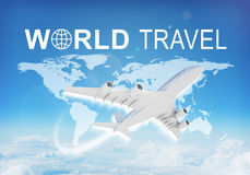World Travel header. Contoured map of world continents with inscription World Travel and related symbol. Flying jet airliner on foreground, Earth surface, clouds Stock Photos