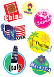World travel icon set. Different country Stock Photos