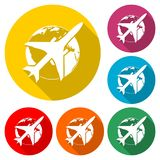 World travel icon, Travel around the world flat design, color icon with long shadow stock illustration