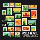 World Travel Iconos fijados Fotografía de archivo libre de regalías