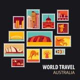 World Travel Iconos fijados Fotografía de archivo